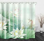 abordables -beau blanc lotus impression numérique rideau de douche en tissu imperméable pour salle de bain décor à la maison rideaux de baignoire couverts doublure comprend avec crochets