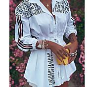 economico -Per donna Abito chemisier Mini abito corto Bianco Nero Rosso Manica a 3/4 Alfabetico Con stampe Autunno A V Da ufficio caldo Casuale 2021 S M L XL XXL