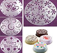 abordables -4 pièces / ensemble moule de pulvérisation de gâteau joyeux anniversaire fleurs motif de coeur pochoirs de pulvérisation gâteau d'anniversaire décoration moule ensemble