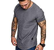 economico -Per uomo maglietta Tinta unica Casuale Top Verde militare Bianco Nero