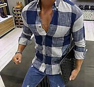 abordables -Homme Chemise Tartan Manches Longues Quotidien Hauts Noir Bleu Rouge