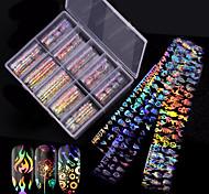 abordables -10 pcs / boîte autocollant étoile d'ongle nouvelle flamme laser populaire autocollant d'ongle autocollant d'ongle féminin 10 styles