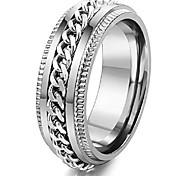 economico -anelli in acciaio inossidabile da 8 mm per catena da uomo anelli da motociclista con bordo scanalato argento taglia 12