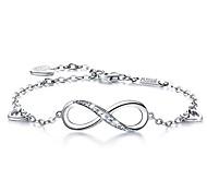 abordables -femmes argent sterling 925 infini symbole d'amour sans fin charme bracelet réglable cadeau pour femmes filles (a-argent)