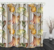 abordables -Rideau de douche en tissu imperméable à l'impression numérique de fruits de ginkgo dessiné à la main pour la décoration de la maison de salle de bains