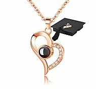 abordables -cadeaux de graduation pour elle je t'aime collier 100 langues colliers d'amour
