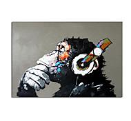 abordables -100% peint à la main casque musique singe abstrait toile peinture quadros mur art animal image pour salon décor cuadros roulé sans cadre