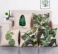 abordables -1 lot de 5 pièces feuille verte série botanique couvre oreiller couvre moderne décoratif taie d'oreiller taie de coussin pour chambre chambre chambre canapé chaise voiture