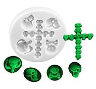 economico -Stampo per fondente in silicone a forma di teschio e croce stampo per decorazione di torte serie halloween