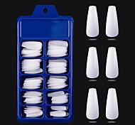 economico -100 pezzi indossano una piccola scatola blu piena di unghie finte di balletto di colore solido patch per unghie punte di unghie finte con custodia per saloni per unghie e fai da te