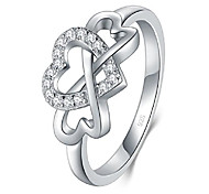 economico -Anello in argento sterling 925, zirconia cubica lucida infinito e anello comfort fit resistente all'appannamento del cuore misura 4