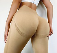 economico -Per donna Vita alta Leggings per lo yoga Scrunch Butt Senza cuciture Pantaloncini Calze / Collant / Cosciali Ghette Fasciante in vita Sollevamento dei glutei Stretching a 4 vie Giallo Arancione Cachi