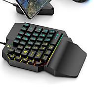 economico -tastiera da gioco a led per home office retroilluminazione multicolore ergonomica 35 tasti kit tastiera a membrana con una sola mano