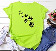 economico -Per donna maglietta Con cagnolino Con stampe Rotonda Top 100% cotone Essenziale Top basic Bianco Nero Giallo