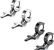 economico -Orecchini a cerchio incernierati con croce in argento in acciaio inossidabile vintage da donna da uomo, orecchini a cerchio in acciaio inossidabile con orecchini pendenti con croce