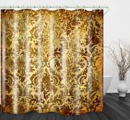 abordables -Rideau de douche en tissu imperméable à imprimé numérique de fleurs d'or nobles pour la décoration de la maison de salle de bains