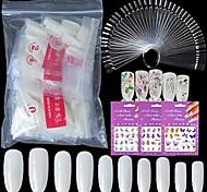 economico -Suggerimenti per nail art in acrilico 500pc unghie finte con copertura completa ovale naturale, 50pc nail art display a colori tabellone campioni di smalto per esercitazione delle unghie bastoni
