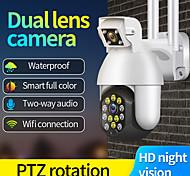 abordables -Caméra IP 1080p Caméra Extérieure Double Objectif PTZ WiFi Audio bidirectionnel 12 LED Vision nocturne infrarouge Suivi automatique Caméra de surveillance de sécurité à domicile