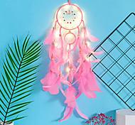 abordables -dreamcatcher carillon à vent led lampe plume fait main cadeau de noël dreamcatcher ornement maison noël saint valentin cadeau tenture murale décoration