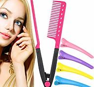 economico -1 pacco pettine lisciante per capelli con 4 pezzi set clip a becco d'anatra pettine in ferro piatto pettine raddrizzatore pettine in ferro caldo per grandi trecce (rosa)