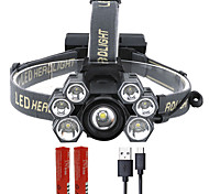 abordables -7 Led Headlamp 3*XML T6+4*XPE led Headlight Lampes Frontales Imperméable 2000 lm LED LED 7 Émetteurs 5 Mode d'Eclairage avec Piles et Câble USB Imperméable Professionnel Camping / Randonnée
