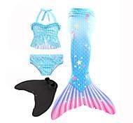 abordables -Enfants Fille Maillot de Bain Bikini 3 pièces Maillot de bain Petite Sirène Maillots de Bain Géométrique Bleu Actif Le style mignon Maillots de bain 3-10 ans