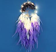 abordables -dreamcatcher led plume veilleuse à la main violet plume carillon de vent pour chambre décoration murale Saint Valentin cadeau de noël