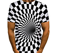 abordables -Homme T-shirt Graphique 3D Print Grandes Tailles Imprimé Manches Courtes Quotidien Hauts basique Exagéré blanc noir Noir & Blanc Blanche