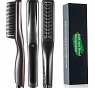 abordables -Lisseur à barbe pour hommes, brosse à lisser anti-brûlure pour les femmes avec chauffage rapide, barbe portable et peigne à lisser les cheveux à affichage LED pour la maison ou les voyages (noir)