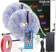 economico -zdm 32.8ft rgbw luci di striscia led impermeabili 2 * 5 metri 600 led smd 5050 bianco caldo più luce rgb con telecomando a 40 tasti o kit di alimentazione 12v