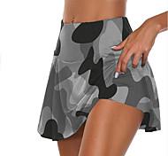 abordables -Femme Taille haute Jupe athlétique Jupe de course Athlétique Bas 2 en 1 Fitness Exercice Physique Course Running Jogging Entraînement Butt Lift Respirable Séchage rapide Sport Couleur Pleine Gris