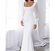 abordables -Trompette / Sirène Minimaliste Elégant Invité de mariage robe ceremonie Robe Encolure dégagée Manches Longues Traîne Brosse Satin avec Lisse 2021