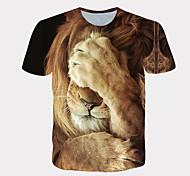 abordables -Homme T-shirt Chemise 3D effet Graphique Lion Motif des animaux Imprimé Manches Courtes Quotidien Hauts Chic de Rue Exagéré Frais Blanche Jaune Orange