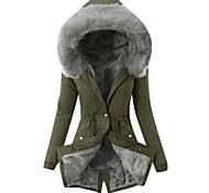 abordables -Veste d'hiver femmes col de fourrure parkas slim zipper parkas chapeau à capuche épaissir manteau d'hiver outwear long manteau femme