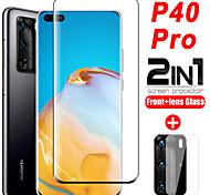 abordables -1/2/3 pcs 2 en 1 verre de protection pour Huawei P40 Pro protecteur d'écran d'objectif de caméra sur film de verre trempé Huawei P40