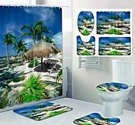 abordables -impression de motif de bord de mer frais rideau de douche salle de bain toilettes de loisirs conception en quatre pièces