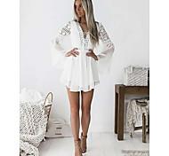 economico -Per donna Abito linea A Mini abito corto Bianco Nero Manica lunga Tinta unica Retato Pizzo Collage Estate A V caldo Elegante 2021 S M L XL XXL