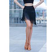 abordables -Femme Danseuse latine Danse Costume de Soirée Franges Polyester Noir Jupes