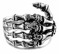 abordables -anneau de bague en acier inoxydable pour homme argenté tête de mort noir taille 15