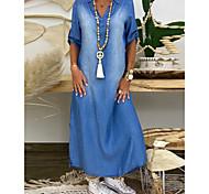 economico -Per donna Abiti di jeans Vestito maxi Blu Mezza manica Estate A V caldo Casuale abiti da vacanza 100% cotone 2021 M L XL XXL 3XL / Taglie forti