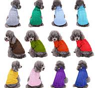 economico -Prodotti per cani Prodotti per gatti Maglioni Tinta unita Casual Stile semplice Inverno Abbigliamento per cani Vestiti del cucciolo Abiti per cani Viola Giallo Rosso Costume per ragazza e ragazzo cane