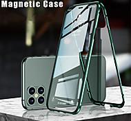 economico -telefono Custodia Per Apple Integrale iPhone 12 Pro Max 11 SE 2020 X XR XS Max 8 7 Con chiusura magnetica A calamita Doppia setola Tinta unita Vetro temperato Metallo
