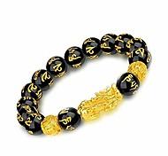 economico -braccialetto di ricchezza di ossidiana nera feng shui, feng shui il miglior braccialetto di perle di mantra intagliato a mano nero da 12 mm, braccialetto con pixiu pi yao dorato attira denaro