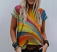 abordables -T-shirt Femme Quotidien Bloc de Couleur Manches Courtes Col Rond Hauts Haut de base basique Jaune Orange Vert