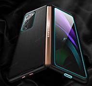 abordables -téléphone Coque Pour Samsung Galaxy Coque Intégrale Étui en cuir Etui folio Galaxy Z Fold 2 Antichoc Clapet Lignes / Vagues Couleur Pleine Cuir véritable