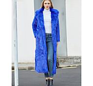economico -Per donna Tinta unita Essenziale Autunno inverno Cappotto di pelliccia sintetica Maxi Feste Manica lunga Pelliccia sintetica Cappotto Top Bianco