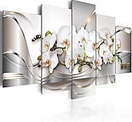 """economico -stampa artistica su tela fiori orchidea 39,37 """"x19,68"""" 5 pezzi decorazioni per la casa con cornice allungata foto pittura opera d'arte immagine a-a-0004-b-n"""