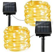 abordables -2pcs 1pcs corde tube led lampe solaire 12m 100 leds guirlande lumineuse en plein air fée vacances fête de noël solaire jardin lumière étanche luz solaire