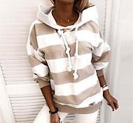 economico -Per donna Felpa con cappuccio pullover A strisce Quotidiano non-stampa Essenziale Felpe con cappuccio Felpe Nero Blu Rosa