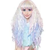 abordables -Perruques de Déguisement Crimped Pastel Rainbow Ombre Cosplay Bouclé Coupe Droite Perruque Très long Arc-en-ciel Cheveux Synthétiques Femme Animé Cosplay Exquis Couleur mixte